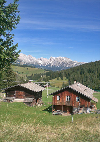 The Pluner cottage on Alpe di Siusi in the Dolomites